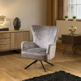 Comfy Armchair Swivel Winged Chair Feature Vintage Velvet Grey New