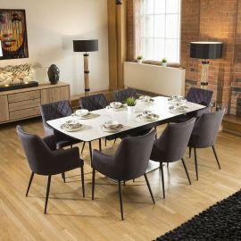 Extending Dining Table White Marble Ceramic + 8 Charcoal Carver Chairs