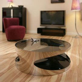 Modern Designer Large Round Coffee Table Glass Top Stainless Steel 203