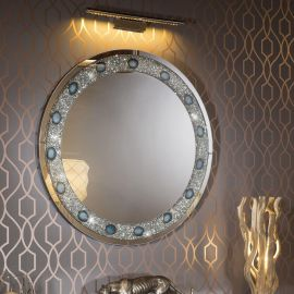 Luxury Modern Round Designer Wall Mounted Crystal Feature Mirror 100cm
