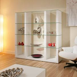 Display Cabinet Glass Shelves/Shelf White Oak Wood Modern Curio M39C