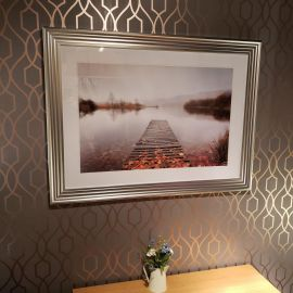 Stunning Large 1070 x 760 mm Photo Print Of A Jetty On A Misty Lake