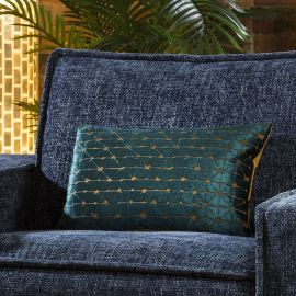 Velvet Starburst Diamond Bolster Cushion Pillow 350 x 500mm Teal Gold