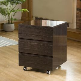 Quatropi Designer Linea Chest Of 3 Drawers Smoked Oak & Wheels