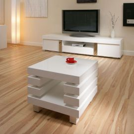 Coffee / End / Side / Lamp Table Square White Gloss Modern New 97B