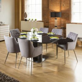 Dining Set Grey Glass Square Extending Table +6 Ice Grey Carver Chairs
