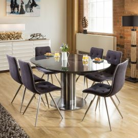 Extending Round Oval Dining Set Grey Gloss/Glass Top Table 6x1515 Grey