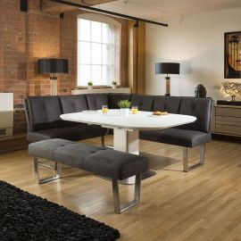 White Glass Extending Table Corner Dining Set + Grey Booth Bench Group