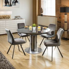 Extending Round Oval Dining Set Grey Gloss/Glass Top Table 4x7250 Grey