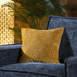 Contemporary Velvet Zebra Print Scatter Cushion Pillow Square Yellow