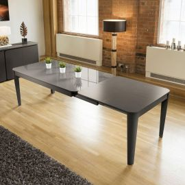 Modern Luxury Extending Glass top Dining Table Grey Oak 1800-2800mmm
