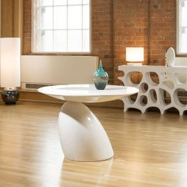 Modern Parabel Style Round Dining Table White Gloss 1.1m Seconds