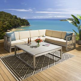 Luxury Large Outdoor Garden Corner Sofa Beige 6 Seater Inc Table & Cover 233BE