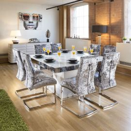 Large Square White Glass Gloss Dining Table + 8 Silver Velvet Chairs