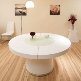 Large Round White Gloss Dining Table Glass lazy susan LED lighting 1.6