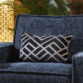 Contemporary Velvet Ayrton Bolster Cushion Pillow 350 x 500mm Navy