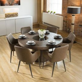 Quatropi Large Elm Dining Set Round 1.4 Table 6 Brown Carver Chairs