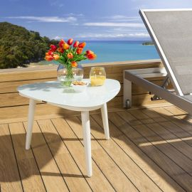 Luxury Garden Outdoor Side Table Aluminium With Glass Top White