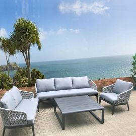 Outdoor Sofa Group 6 Seater 4 Piece Black Grey Square Table