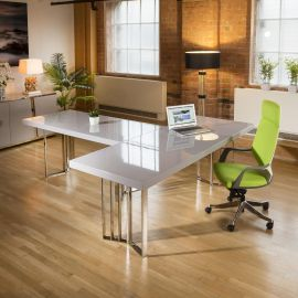 Set of 2 designer Linea desks 2200mm and 1700mm Grey gloss and stainless.