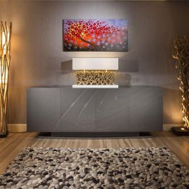 Luxury Large Modern Sideboard / Cabinet / Buffet in Grey Sparkle Gloss