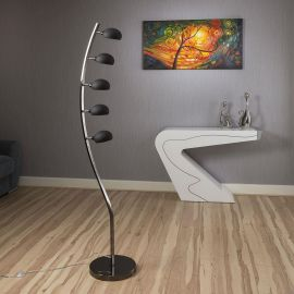 Modern Floor/Standard Lamp/Light/Lighting 5 Black Glass Shades Shell