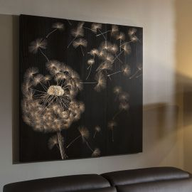 Large Square Black Wall Artwork Hand Carved Solid Wood Dandelions 1.2mt