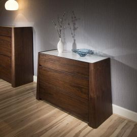 Beautiful Modern Quatropi Chest of 3 Drawers / Cabinet in Dark Walnut