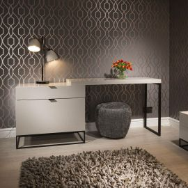 Modern Quatropi Desk / Dressing Table / Dresser Avorio Grey Gloss 2.0m
