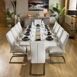Luxury White / Glass Dining Table Set +10 Padded White Chairs 4110