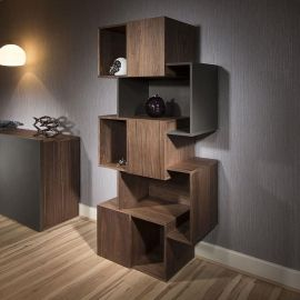 Modern Tall Display Cabinet / Shelving / Bookcase Walnut / Scuro Grey