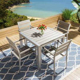 Luxury Aluminium Garden Dining Set Square Table 4 Chairs Cover 020GR