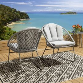 2 x Luxury Outdoor Garden Knotted Rope Dining Chairs Light Grey.