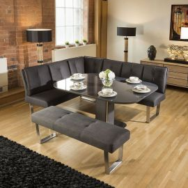 Grey Glass Extending Table Corner Dining Set + Grey Booth Bench Group