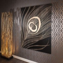 Large Wall Art Artwork Hand Carved Wood Black Oak Feather 1.6x 1.2mtr