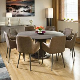 Earth Huge Solid Oak Round Dining Table 1600mm + 8 Brown Carver Chairs