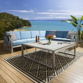 Luxury Large Outdoor Garden Corner Sofa Blue 6 Seater Inc Table & Cover 233BL