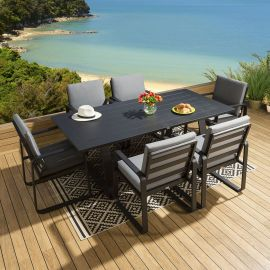Large Outdoor Rectangular Alum Dining Set Table 6 Chairs Black Grey