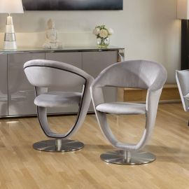 Set of 2 Unique Stylish 360 Rotating Dining Chairs Grey Velvet HD8110
