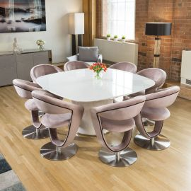 Square White Glass Dining Table + 8 Pink Velvet 360 Rotating Chairs