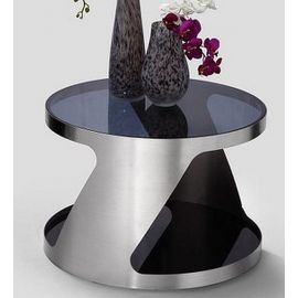 Modern Round Side/Lamp Table/Tables Black Glass Stainless Steel 107