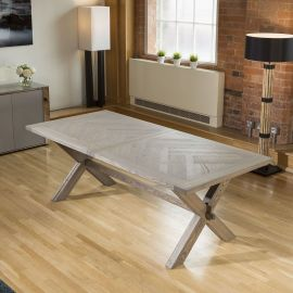 ExDisplay Saturn Solid Oak Extending Dining Table Range 2200 - 2700 x1000mm
