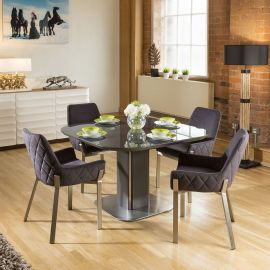 Dining Set Grey Glass Square Extending Table + 4 Dark Grey Chairs 1649