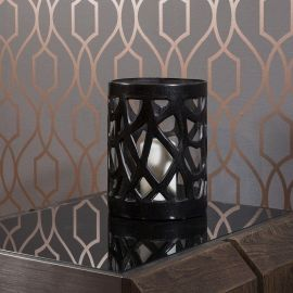Classy Lily Black Candle Holder Antique Stainless Glass Round Birthday