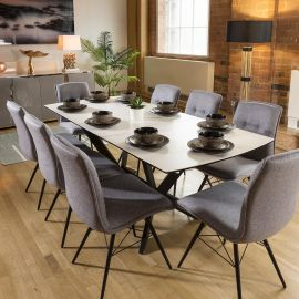 Extending White Ceramic Dining Table + 8 Grey Fabric Chairs 9137
