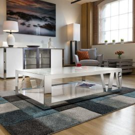 Modern Luxury Large White Rectangular Coffee Table Glass & Stainless V