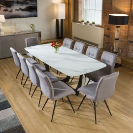 Modern White Glass Marble Effect Dining Table + 10 Grey Fabric Chairs