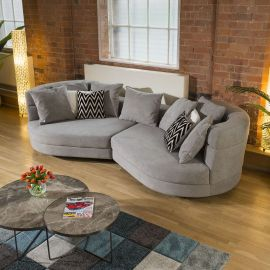 Fabulous Unique Large Love Sofa Soft Grey Large 2.9m Scatter Back