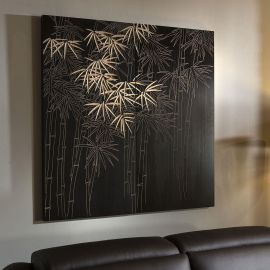 Huge Wall Artwork Hand Carved Paulownia Wood Black Bamboo 1.2x1.2 mtrs