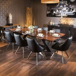 Large Walnut Top Dining Boardroom Table 240x110 + 8 Sleek black chairs